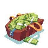 A gordura grande abriu o saco de couro completamente do dinheiro do dinheiro ilustração do vetor