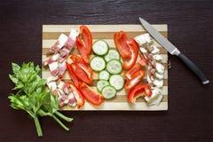 Gordura salgado crua da carne de porco com vegetais em uma placa de madeira Fotografia de Stock Royalty Free