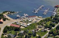 Gore Bay marina, aerial Royalty Free Stock Image