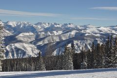 Gore Range on a BlueBird POW Powder Day Beaver Creek Colorado Stock Image
