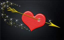 Gored heart. An illustration of a heart gored by arrow over black background Royalty Free Stock Photography
