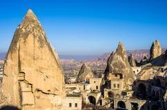 Goreme, πολύ μοναδικό χωριό Cappadocia, Τουρκία Στοκ φωτογραφία με δικαίωμα ελεύθερης χρήσης
