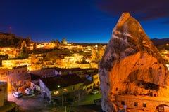 Goreme antycznego miasta widok po zmierzchu, Cappadocia Obraz Royalty Free