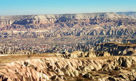 Hilly landscape - Goreme, Cappadocia - Landmark attraction in Turkey Royalty Free Stock Images