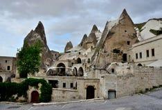 Goreme eller Maccan - äldst platser av Cappadocia, Turkiet Arkivbilder