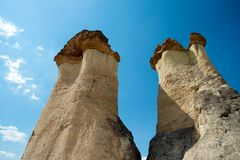 goreme för geografi för bildande för cappadociakotten houses exotisk inre dess flera like rock kalkonen royaltyfri foto