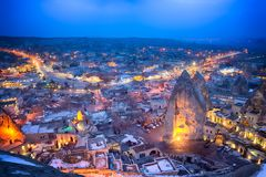 Goreme night cityscape. Goreme, Turkey night view from the top. Beautiful cityscape Royalty Free Stock Photos
