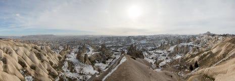 Goreme panorama in winter. Royalty Free Stock Photos