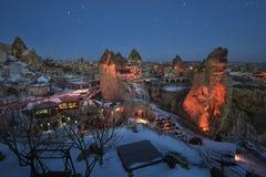 Goreme town on evening time in Cappadocia, Central Anatolia,Turkey. Winter Cappadociaq Stock Images