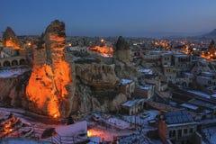 Goreme town on evening time in Cappadocia, Central Anatolia,Turkey. Winter Cappadociaq Stock Photos