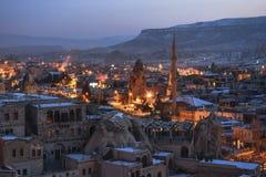 Goreme town on evening time in Cappadocia, Central Anatolia,Turkey. Winter Cappadociaq Stock Photography