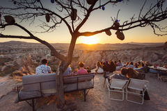 GOREME, TURKEY - APRIL 27: Beuatiful sunset over Rose and Red Va Stock Images