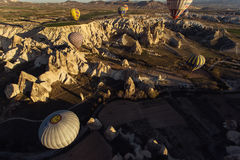 GOREME, TURKEY - APRIL 27: Hot air balloon fly over Cappadocia o Royalty Free Stock Images