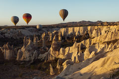 GOREME, TURKEY - APRIL 28: Hot air balloon fly over Cappadocia w Stock Images