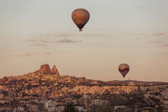 GOREME, TURKEY - APRIL 30: Hot air balloon fly over Cappadocia w Royalty Free Stock Photography