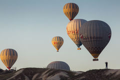 GOREME, TURKEY - APRIL 30: Hot air balloon fly over Cappadocia w Royalty Free Stock Image