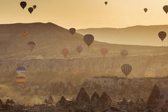 GOREME, TURKEY - APRIL 30: Hot air balloon fly over Cappadocia w Royalty Free Stock Images