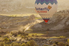 GOREME, TURKEY - APRIL 28: Hot air balloon fly over Cappadocia w Royalty Free Stock Images