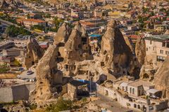 GOREME, TURKEY: Top view from the observation deck on the home, the Church and the cliffs