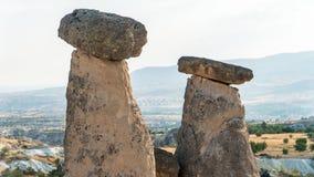 Goreme by, Turkiet Lantligt Cappadocia landskap Stenhus av Cappadocia Royaltyfri Foto