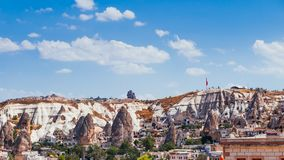 Famous Goreme village in Cappadocia at day time in Turkey. Goreme village in Cappadocia at day time in Turkey Royalty Free Stock Photo