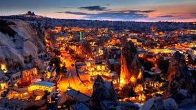 Goreme village in Cappadocia at night in Turkey. Goreme village in Cappadocia at evening time in Turkey Royalty Free Stock Photo