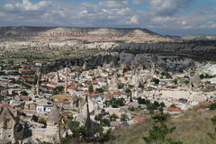 Goreme village and pink canyon Stock Photos