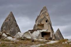 Gorememuseum, beroemd Cappadocian-oriëntatiepunt, vulkanische rotsen met holen stock fotografie