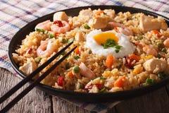 Goreng de Nasi avec l'horizon de poulet, de crevette et de plan rapproché de légumes Images libres de droits