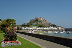Gorey Castle and harbour, Jersey Royalty Free Stock Photography