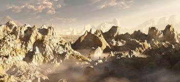 Gorge étrangère de désert dans les nuages Images libres de droits