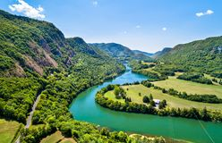 Gorge of the Ain river in France Royalty Free Stock Photo