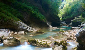 Gorge blurred river in summer time.  stock photography