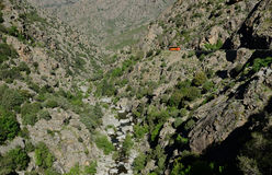 Gorge between the Corsican mountain ranges Royalty Free Stock Photo
