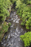 Gorge at Cuyahoga Falls. Ohio's Cuyahoga River flows through a rocky gorge in the community of Cuyahoga Falls stock photos