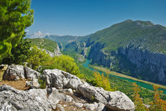 Gorge de fleuve de Cetina en Croatie Photos stock