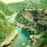 Gorge de fleuve Tara en montagnes du Monténégro Images libres de droits