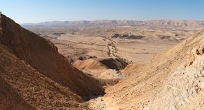 Gorge in the desert crater. Gorge in the Large Crater (Makhtesh Gadol) in Israel's Negev desert Royalty Free Stock Photography