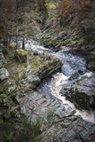 Gorge on the Findhorn River at Moray in Scotland. Royalty Free Stock Images