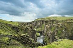 Gorge Fjadrargljufur, Islande Photographie stock libre de droits
