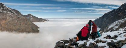 Mountains, travel, nature, snow, clouds. Gorge Genaldon Karmadon. OZhD peak buttress. Intermediate camp. Climbing Kazbek 5033 m. North Ossetia stock photos