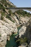 Gorge of the Hérault. Bridge near Saint-Guilhem-le-désert and The Grotte de Clamouse stock image