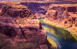 Gorge Horseshoe - picturesque canyon of the Grand Canyon and the Colorado River. Tourist attraction of Grand Canyon National Park and Arizona State. An stock photography
