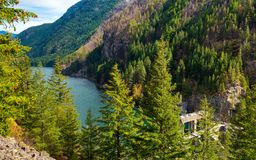 Gorge Lake panoramic. Gorge Lake behind Gorge Dam in North Cascades National Park, Washington Royalty Free Stock Photo