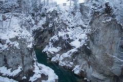 Gorge on the Lech river in winter time. Fussen. Germany. Royalty Free Stock Photos