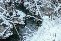 Gorge on the Lech river in winter time. Fussen. Germany. Royalty Free Stock Images