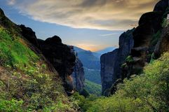 Gorge in the mountains. Greece, Thessaly, Meteora. The unique rocky landscape of the valley of Meteora, in the province of Thessaly, Greece. Filmed in the Royalty Free Stock Photography