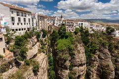 Gorge and New Town. The gorge El Tajo and the New Town El Mercadillo, Ronda, Andalucia, Spain Stock Photo