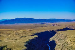 The Gorge of the Rio Grande in Taos New Mexico. A view of the Rio Grande River and Gorge in Taos New Mexico from a hot Air Balloon stock photos