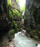 The Gorge. River flowing through the Partnach Gorge in Bavaria, Germany Royalty Free Stock Photos